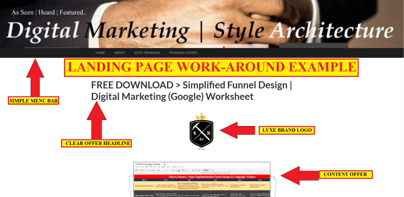 Graphics - Screenshot - Landing Page WorkAround Example