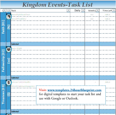 kingdom events task list